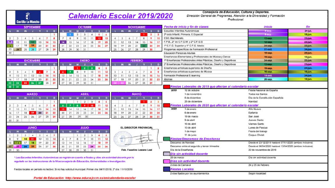 Calendario Belen 2020.Calendario Escolar 2019 2020 Ceip Badiel Guadalajara